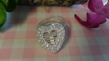 Beautiful New Big Heart CZs 7 Ropes  Ring 925 Sterling Silver * Size 8.5 * B267