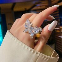 Fashion Crystal Butterfly Knuckles Rings Expandable Open Ring Women Adjustable
