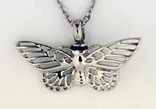 "Stainless Steel Butterfly Cremation Jewelry Pendant Urn w/ 20"" Necklace - Ashes"