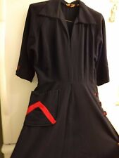 Woman'S Fabulous Vintage 1940'S Black Wool Dress With Great Red Highlights