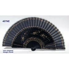 Hand fan in wood black and cotton with designs floral patterns. Suitable for