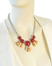 """FOSSIL Brand """"Northern Lights"""" Red Peach Cabochon Statement Frontal Necklace $78"""