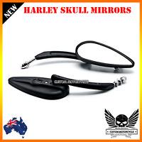 Black Skeleton Skull Motorcycle Mirrors Universal Harley Road King Custom Class