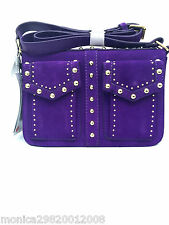 ZARA LEATHER STUDDED CITY BAG HAND BAG SHOULDER BAG PURPLE RRP £79.99