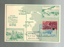 1938 France Cover La Baule D'Yau Aviaton Meeting Jean Mermoz Air Club Postcard