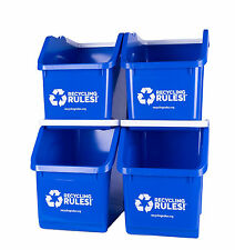 Stackable Blue Recycling Bin Container 6 Gallon Multi-Recycler - 4 Pack of Bins