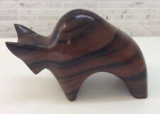 MODERNIST CARVED WOOD Rosewood? Bull SCULPTURE Vintage Abstract Danish Modern