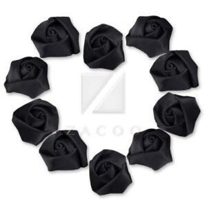 10pcs 21mm Satin Ribbon Rosebuds Flower Sewing Craft Wedding Appliques 45 Colors