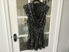 French Connection Black/Silver sequin Playsuit.size 10 (Worn Once).