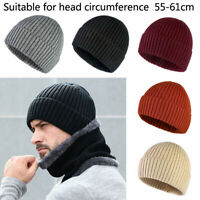 Men Thermal Beanie Hat Winter Warm Cotton Hats Thick Knit Ribbed Outdoor Caps UK