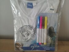 Colour your own Frozen T-shirt Arts Crafts Elsa Anna Make your own top Age 4-5