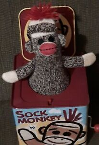 Schylling Sock Monkey Jack in the Box Pop Goes the Weasel Brown Yellow 2008 EUC.