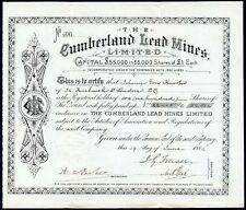 Cumberland Lead Mines Ltd., £1 shares, 1884