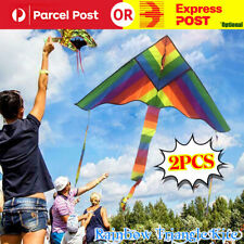 2 x Rainbow Triangle Kite Outdoor Children Fun Sports Kids Toys Gift Air Fly