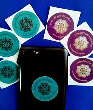 SHUNGITE STICKERS x6 Cell/mobile Phone EMF Solutions (3xBLUE & 3xPURPLE)