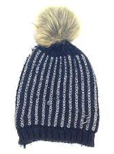 $95 BLOOMINGDALE'S WOMEN BLACK CASUAL WINTER WARM HAT CAP POM BEANIE SIZE LARGE