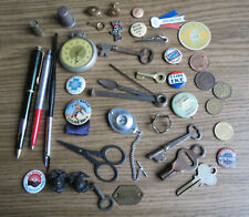 Excellent Junk Drawer Lot - Pens Buttons Coins Keys & Other Cool Stuff
