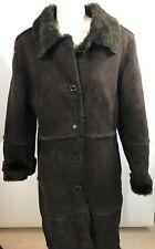 Via Spiga Brown VEGAN Coat Faux Shearling Fur Suede Duffel Coat Women's Small