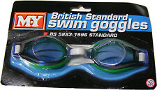 BRITISH STANDARD SWIMMING GOGGLES - GREEN RIM - SUITABLE FOR ADULTS & CHILDREN