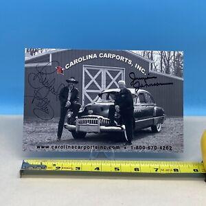 Richard Petty / Junior Johnson SIGNED Carolina Carports, Inc. Postcard