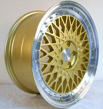 "18"" ISPIRI CSR3 GOLD POLISHED STAGGERED ALLOY WHEELS 5X112 FITS VW GOLF & CADDY"