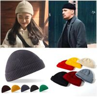 Fisherman Beanie Knitted Ribbed Hat Retro Vintage Mens Womens Cap Colorful