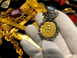 COLOMBIA 1622 PURE GOLD COIN w SHIP & OCTOPUS ATOCHA PENDANT JEWELRY NECKLACE
