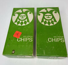 2 Vintage Boxes of Greene Games Poker Chips (200 chips) Red White & Blue