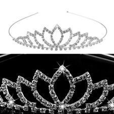 Pixnor Wedding Bridal Children Rhinestone Decor Hairband Hair Clip Loop Tiara