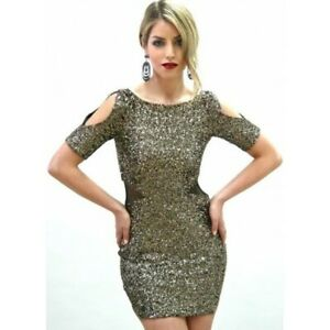 BARIANO - Sequin Cut Out Shift Dress (BTD33 - Gold/Sequins size 8)