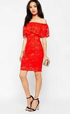 Absolutely Stunning Red Lipstick Boutique Petite Bardot Frill Bodycon Dress