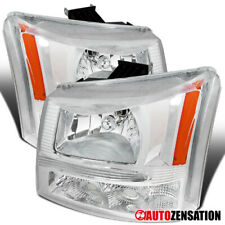 For 2003-2007 Chevy Silverado Avalanche Clear 2in1 Headlights Bumper Lamps Pair
