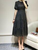 AUTH Ted Baker MARIANI Short sleeved Spotted Polka Dot Midi dress Black 0-5