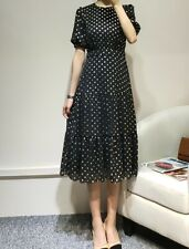 AUTH Ted Baker MARIANI Short sleeved Spotted Polka Dot Midi dress Black 0-5