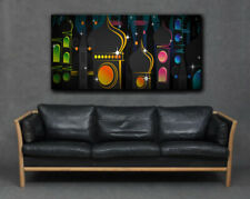 Arabian Architecture Arab Buildings Print Canvas Large Black Colourful Abstract