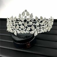 Wedding Bridal Jewelry Crystal Leaf Crown Tiara Headband Hair Accessories Silver