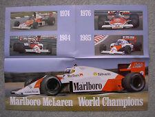 MARLBORO McLAREN FORMULA 1 WORLD CHAMPIONS POSTER - 1974, 1976, 1984, 1985