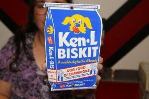 Ken-L-Biskit Dog Food Pet Feed Farm Hunting Gas Oil Porcelain Metal Sign