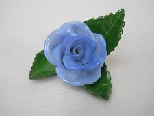 HEREND china PLACECARD holder BLUE ROSE Hand Painted Hand Made