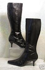 J RENEE 'NANETTE' BLACK EELSKIN DESIGNER KNEE HIGH HEEL FASHION BOOTS SZ 7 WIDE