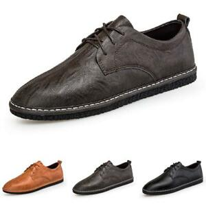 Mens Faux Leather Driving Moccasins Shoes Round Toe Walking Lace up Breathable L