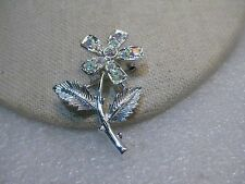 Vintage Sarah Coventry Flower Brooch, A.B. Rhinestone Accents, Silver Tone, 1.5""
