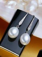Damen Ohrringe 925er Sterling Silber Süßwasser Perle AAA Rhodiniert Zirkonia AAA