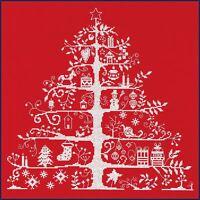DMC Cross Stitch Kit - Christmas Tree Red Christmas Keepsake Nordic Design