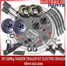 DIY 2000kg Electric Brake Stub Axle 40mm Trailer Kit with slipper springs