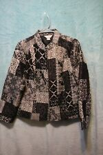 ⚜Woman's tapestry Zip down Jacket by Christopher & Banks size PM~Black/purple