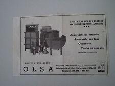 advertising Pubblicità 1947 OLSA OFFICINA LAVORAZIONI ACCIAI INOSSIDABILI MILANO