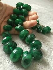 DARK GREEN large necklace faux stones + GREEN EArrings free