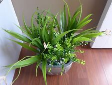 4 Artificial Grass Plastic Plants Blooming Orchid And Small Leaf Bushes