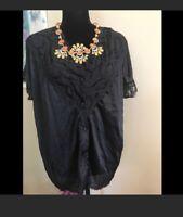 Olga Pajama Top Black Nylon With Lace Large Short Sleeve Vintage